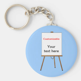 Lecture and Display Wooden Easel Basic Round Button Keychain