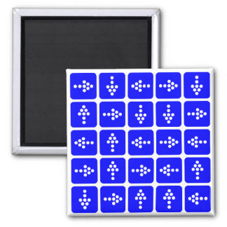 LED Arrow Square Blue 2 Inch Square Magnet