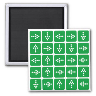 LED Arrow Square Green 2 Inch Square Magnet