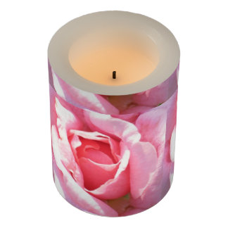 LED Candle Flameless with pink Roses