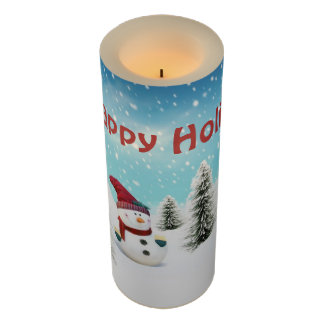 LED Candle/Happy Holidays Snowman Flameless Candle
