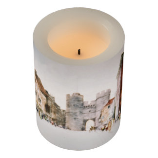 LED candle with 'Canterbury Tower Gate' image