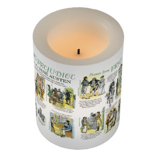 LED Candle with Scenes from Pride and Prejudice Flameless Candle