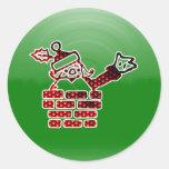 LED Santa Classic Round Sticker