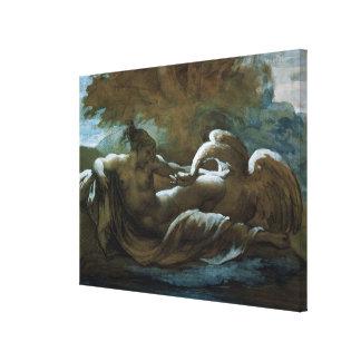 Leda and the Swan (black chalk and w/c) Canvas Print