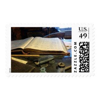 Ledger and Eyeglasses Postage Stamp
