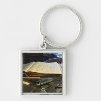 Ledger and Eyeglasses Silver-Colored Square Keychain