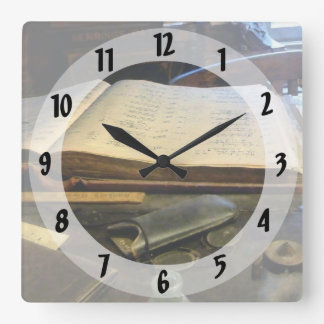 Ledger and Eyeglasses Square Wall Clock