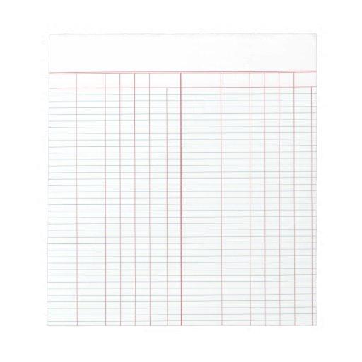 Ledger Paper Note Pad Zazzle RpCsuR94