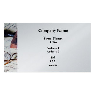 Ledger With Eyeglasses and Rubber Stamp Business Card