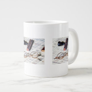 Ledger With Eyeglasses and Rubber Stamp Giant Coffee Mug
