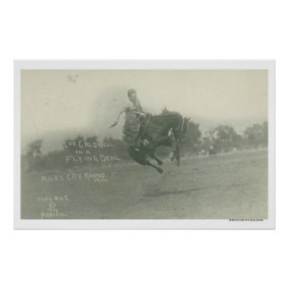 Lee Caldwell riding Flying Devil. Poster