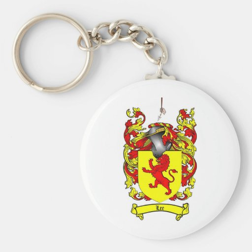 LEE FAMILY CREST -  LEE COAT OF ARMS BASIC ROUND BUTTON KEYCHAIN