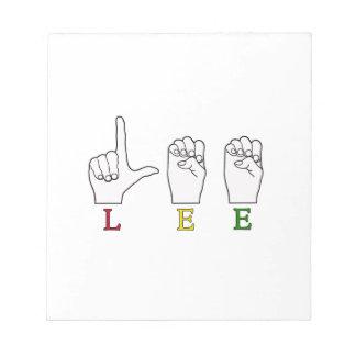LEE FINGERSPELLED ASL SIGN NOTEPAD