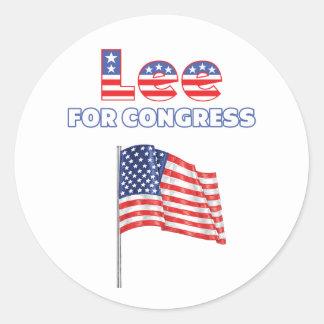 Lee for Congress Patriotic American Flag Design Classic Round Sticker