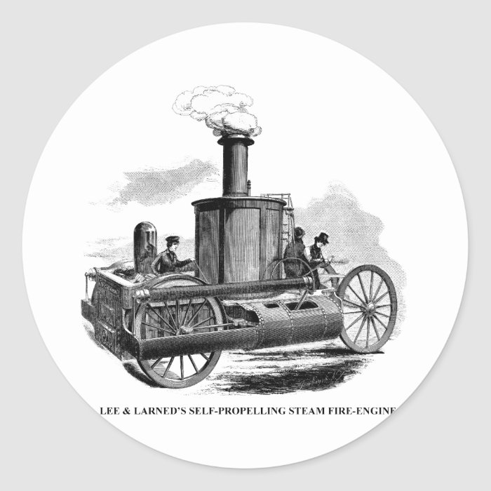 Lee & Larned Fire Engine Classic Round Sticker