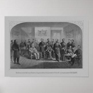 Lee que se entrega en Appomattox -- Guerra civil Posters