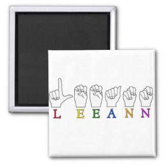 LEEANN LEE ANN FINGER SPELLED ASL SIGN NAME 2 INCH SQUARE MAGNET