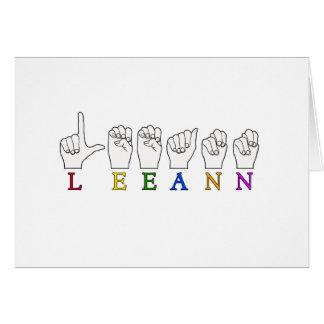 LEEANN LEE ANN FINGER SPELLED ASL SIGN NAME CARD