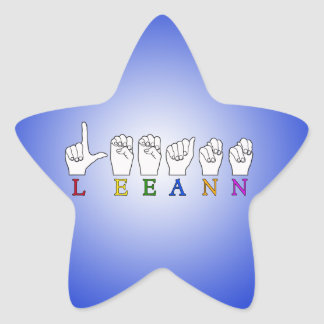 LEEANN LEE ANN FINGER SPELLED ASL SIGN NAME STAR STICKER