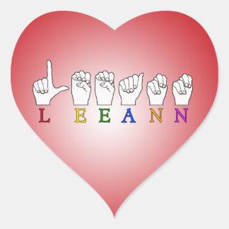 LEEANN LEE ANN FINGER SPELLED ASL SIGN NAME STICKERS