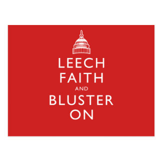 Leech Faith and Bluster On Postcard