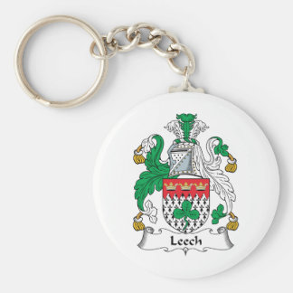 Leech Family Crest Basic Round Button Keychain