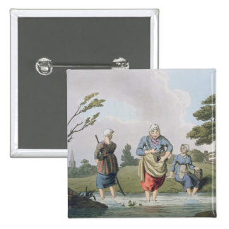 Leech Finders, from `Costume of Yorkshire' engrave Pinback Button