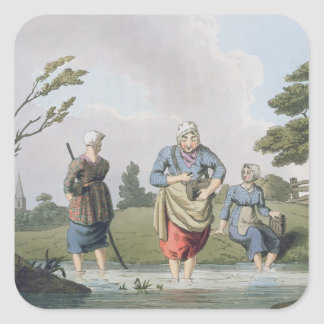 Leech Finders, from `Costume of Yorkshire' engrave Square Sticker