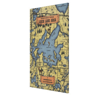 Leech Lake Area, Minnesota - Large Letter Scenes Canvas Print