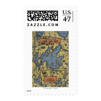 Leech Lake Area, Minnesota - Large Letter Scenes Postage