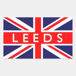 Leeds: Bandera británica Pegatina Rectangular