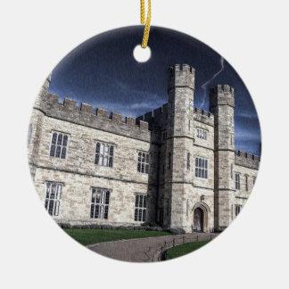 Leeds castle at night ceramic ornament