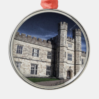 Leeds castle at night metal ornament