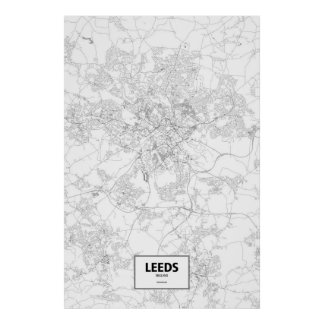 Leeds, England (black on white) Poster