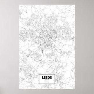 Leeds, England (black on white) Poster