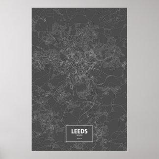 Leeds, England (white on black) Posters