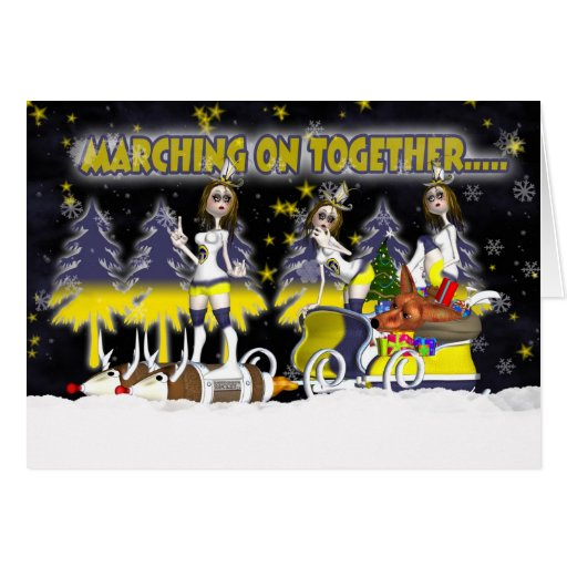 Leeds Fan Christmas Card With Rock Chicks