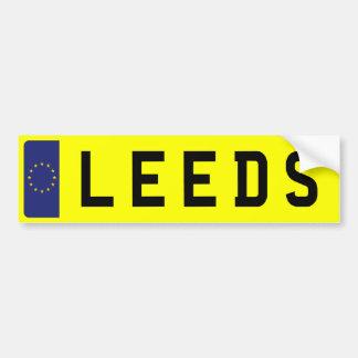 LEEDS Number Plate Bumper Sticker