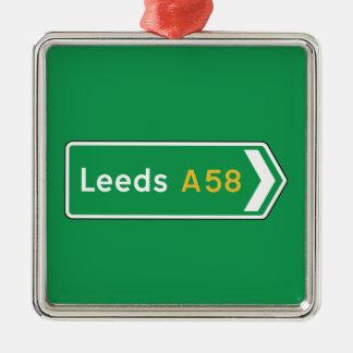 Leeds, señal de tráfico BRITÁNICA Adorno Navideño Cuadrado De Metal