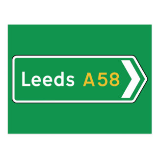 Leeds, señal de tráfico BRITÁNICA Postal