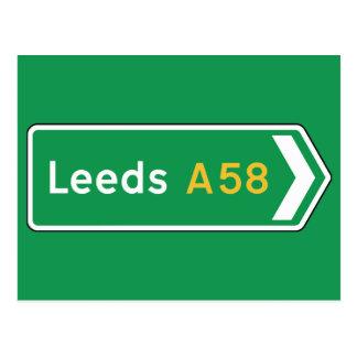 Leeds, señal de tráfico BRITÁNICA Postales