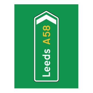 Leeds, señal de tráfico BRITÁNICA Tarjetas Postales