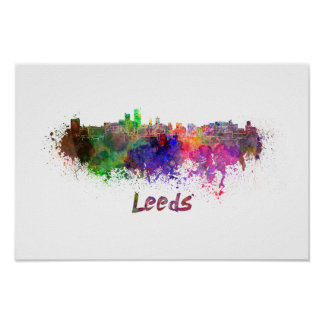 Leeds skyline in watercolor poster