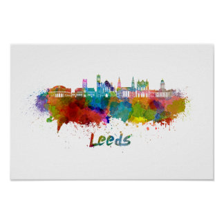 Leeds V2 skyline in watercolor Poster