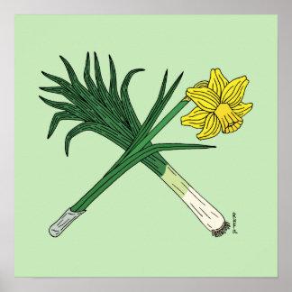 Leek and Daffodil Crossed Poster