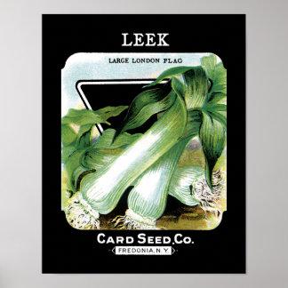 Leek Seed Packet Label Poster
