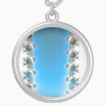 Leenece - Blue Fractal Silver Plated Necklace