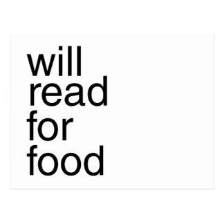 Leerá para la comida tarjetas postales