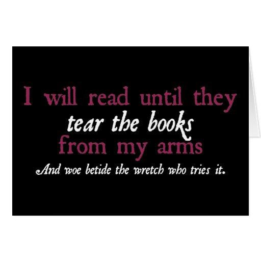 Leeré hasta que rasguen los libros de mis brazos felicitacion
